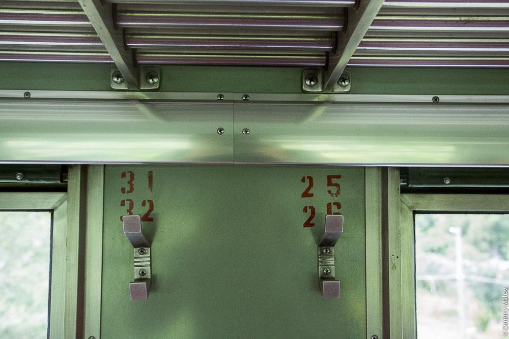 Внутри дизель-поезда Д2, Сахалин. Inside D2 diesel train, Sakhalin, Russia.
