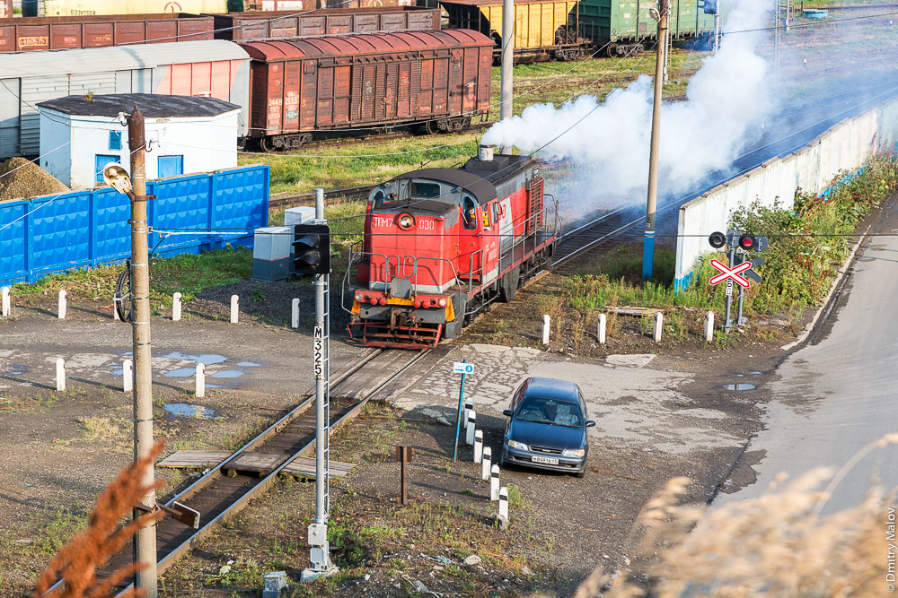 Тепловоз ТГМ7-030, Холмск, Сахалин. Locomotive Diesel Engine TGM7-030, Kholmsk, Sakhalin, Russia.
