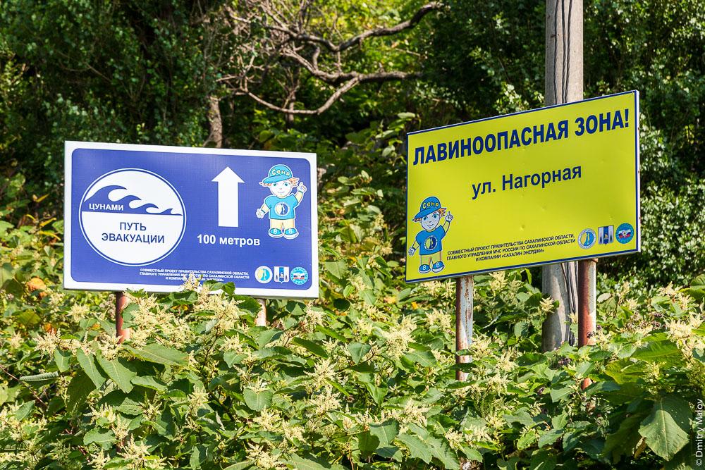 Путь эвакуации при цунами. Лавиноопасная зона. ул. Нагорная, Невельск, Сахалин. Tsunami evacuation route. Avalanche Zone. Nevelsk, Sakhalin.