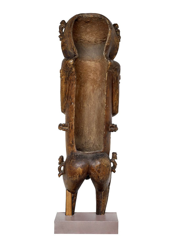 Carved wooden figure known as A'a (view with open back), late 18th century C.E., hardwood, possibly pua, 117 cm high, Raiatea, Rurutu, Austral Islands, French Polynesia © The Trustees of the British Museum