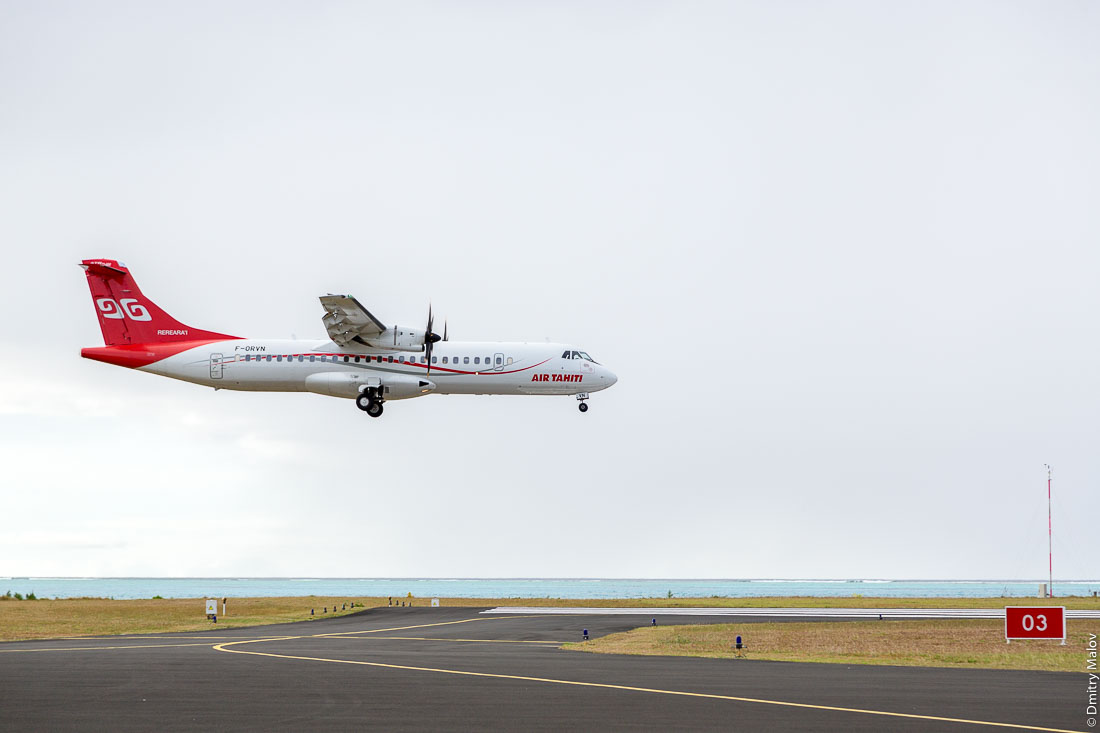 Посадка/landing of ATR72-600 F-ORVN. Аэропорт острова Тубуаи, архипелаг Острал, Французская Полинезия. Airport of Tubuai, the Austral islands, French Polynesia.