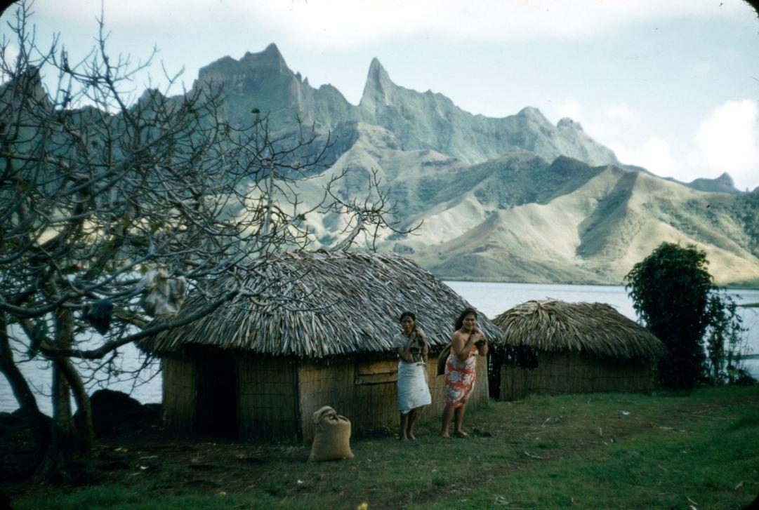 Две местные женщины острова Рапа-Ити, на фоне хижин, залива и гор. © Уильям Мэллой 1956 Two Rapaiti local women. Maisons traditionnelles (fare) de Rapa © Mulloy 1956