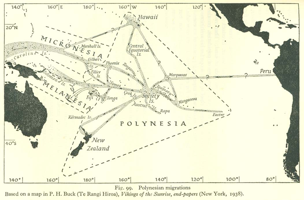 Polynesian migrations. Based on a map in P.H.Buck (Te Rangi Hiroa), Vikings of the Sunrise, end-papers (New York, 1938)