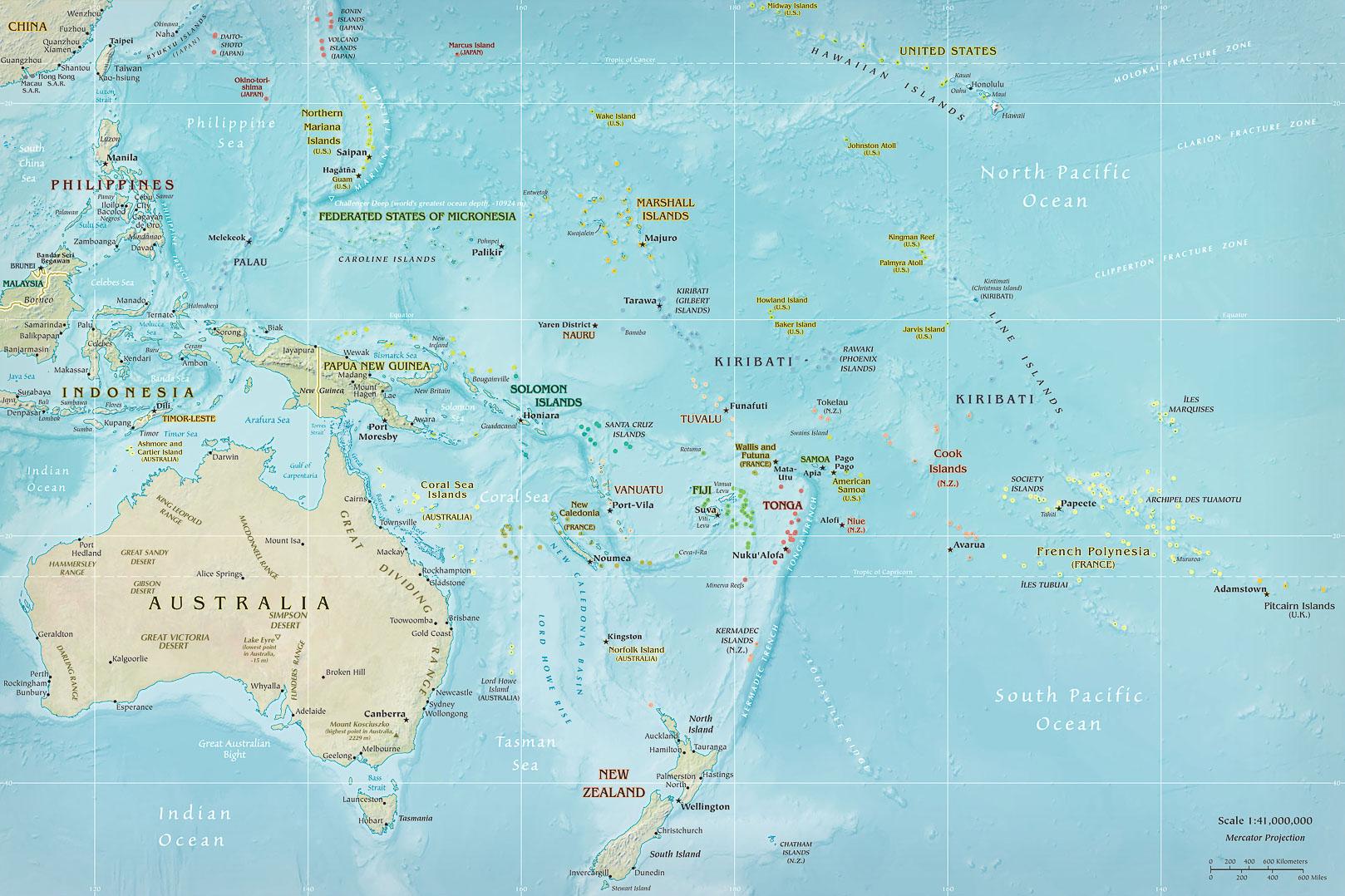 карта Океании: Полинезия, Микронезия, Меланезия