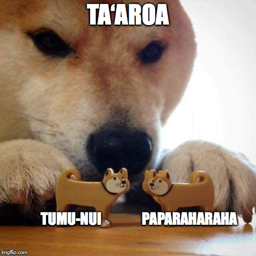 Ta'aroa, the Creator, breathed into the rock foundation the essence of himself and personified it as Tumu-nui to be the husband; likewise he personified the rock stratum as Paparaharaha to be the wife. Both, however, refused to obey the command of Ta'aroa to approach each other. Dog now kiss meme