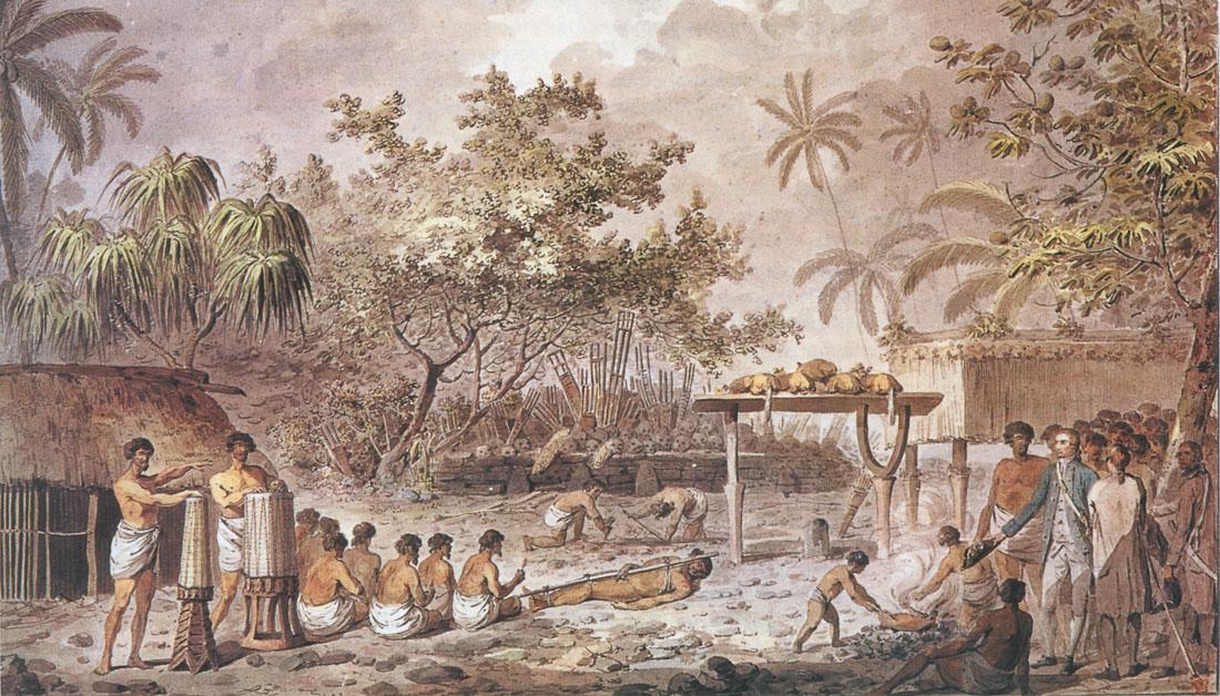 Cook attending a human sacrifice on a Tahiti marae, Webber, 1784