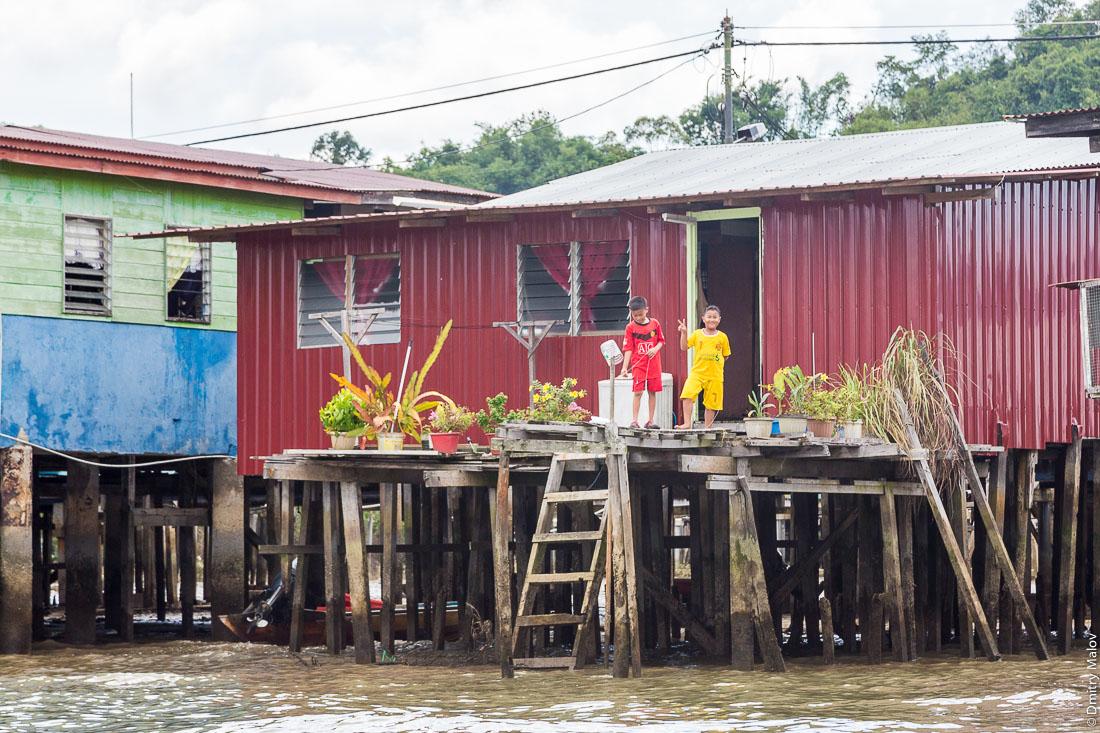 Два брунейских мальчика и уличные цветы в горшках в деревне на сваях Кампунг-Айер, Бандар-Сери-Бегаван, Бруней-Даруссалам. Two local boys and greenery in flower pots, at stilt village Kampong Ayer, Bandar Seri Begawan, Brunei Darussalam