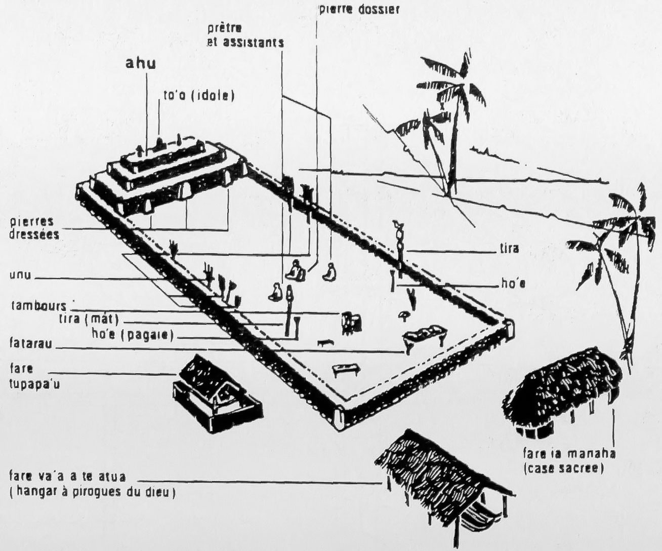 Схема полинезийского мараэ. Polynesian marae plan.