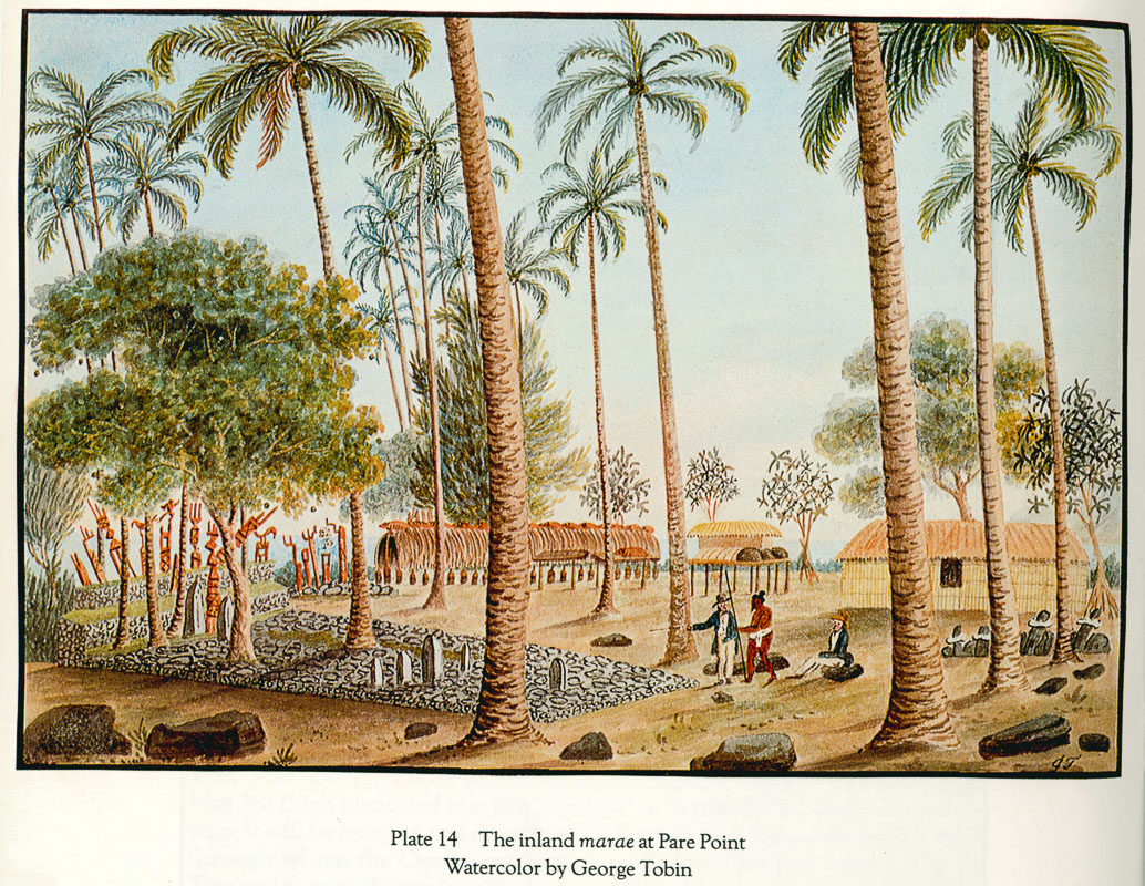 The inland marae at Pare Point, watercolor by George Tobin