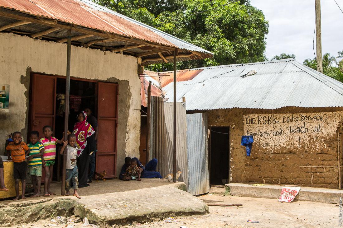 Местные жители на фоне дома из глины и палок, остров Пемба, архипелаг Занзибар, Танзания. Locals with the traditional clay and sticks house in the background, Pemba island, Zanzibar archipelago, Tanzania.