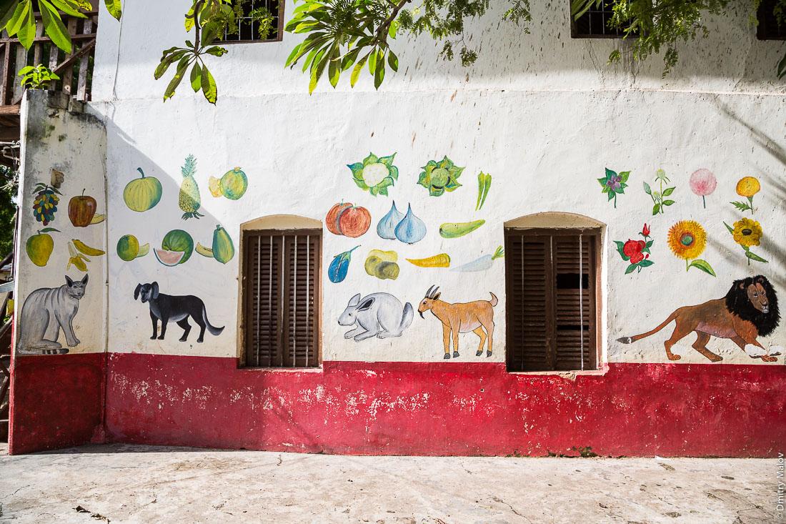 Граффити в детском саду — фрукты, овощи, животные, кот, собака, кролик, антилопа, лев. Каменный город, Занзибар-сити, остров Унгуджа, Танзания. Stone Town, Zanzibar City, Unguja island, Tanzania. Graffiti in kindergarten - fruits, vegetables, animals, a cat, a dog, a rabbit, an antelope, a lion.