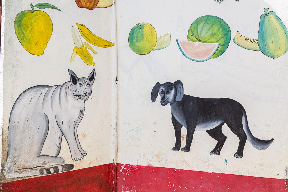 Граффити в детском саду — фрукты, овощи, животные, кот, собака. Каменный город, Занзибар-сити, остров Унгуджа, Танзания. Stone Town, Zanzibar City, Unguja island, Tanzania. Graffiti in kindergarten - fruits, vegetables, animals, a cat, a dog.