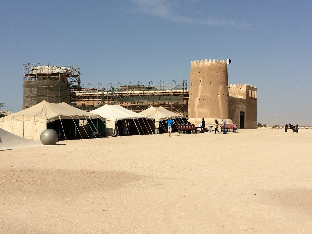 2015, outside view of renovations on Zubarah Fort.