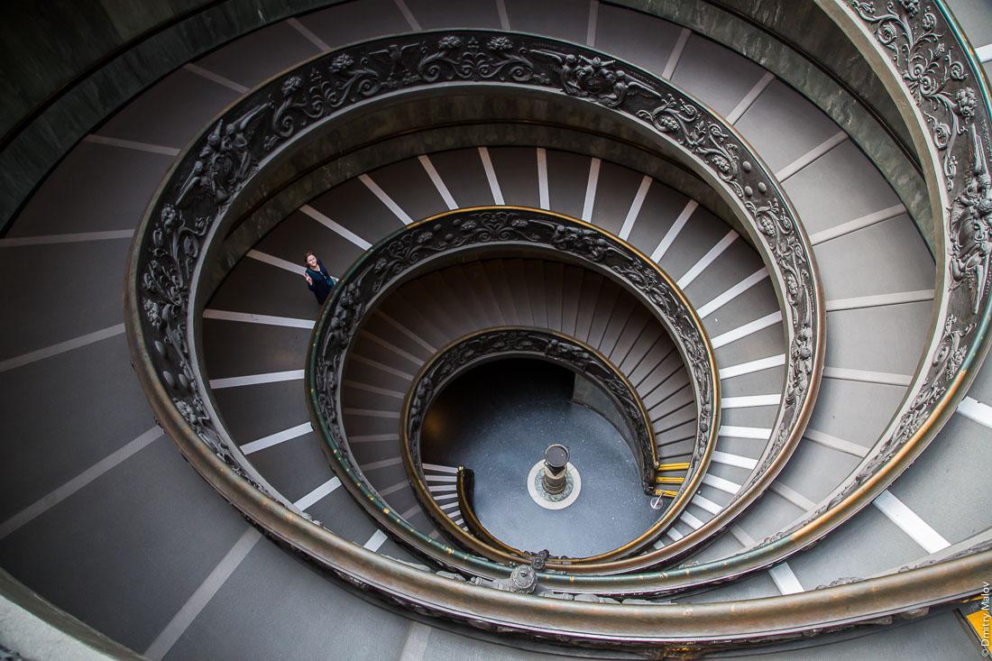 Лестница Браманте, музеи Ватикана. Bramante Staircase, Vatican Museums, Vatican City