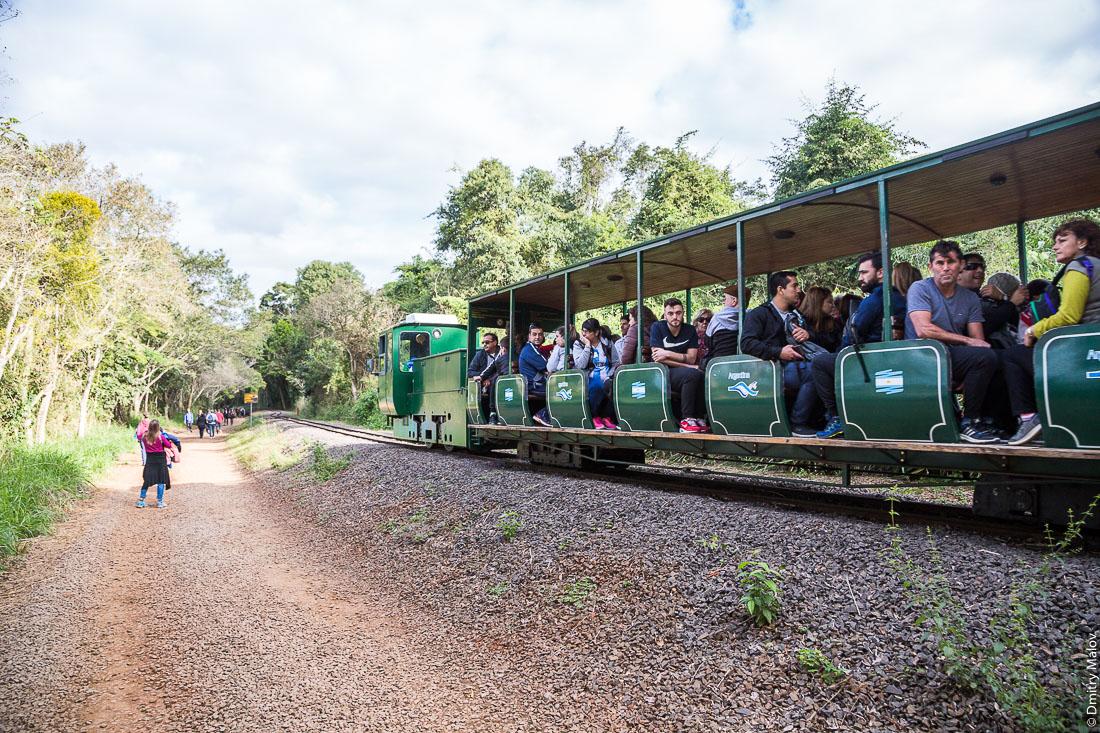 Узкоколейная железная дорога в парке водопадов Игуасу, Аргентина. Narrow-gauge railway (Rainforest Ecological Train or Waterfalls Train) in the park of Iguazu waterfalls, Argentina.