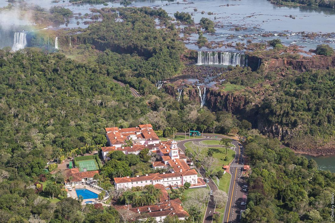 Belmond Hotel Das Cataratas, Parque Nacional Iguassu, Brazil. Aerial helicopter view.