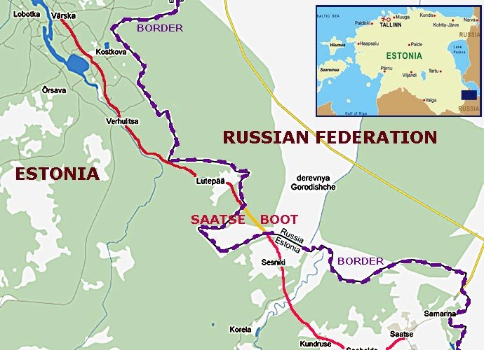 Саатсеский сапог, карта, Эстония-Россия. Saatse saabas, Eesti-Venemaa. Saatse Boot map, Estonia-Russia.
