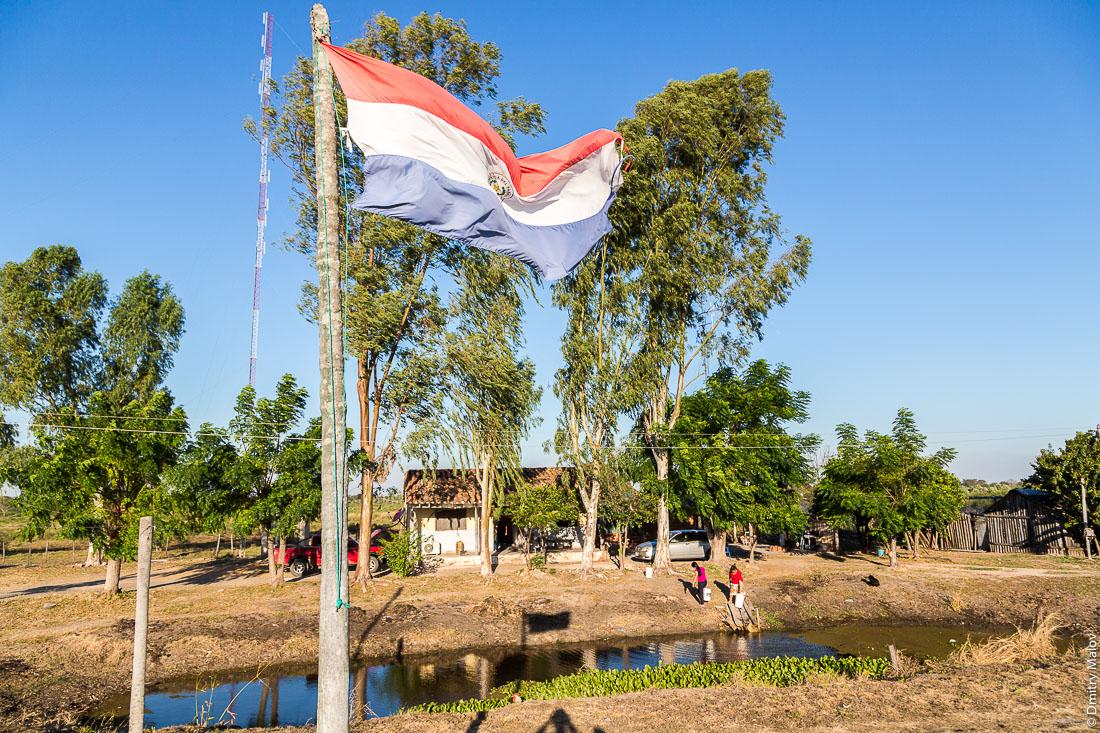 Флаг Парагвая. Индейская женщины набирают воду в заросшей пруду-луже, вдоль дороги№9 Рута Трансчако, Гран-Чако, Парагвай. Flag of Paraguay. Paraguayan women take water from an overgrown pond, along the road number 9 Ruta Transchaco, Gran Chaco, Paraguay.