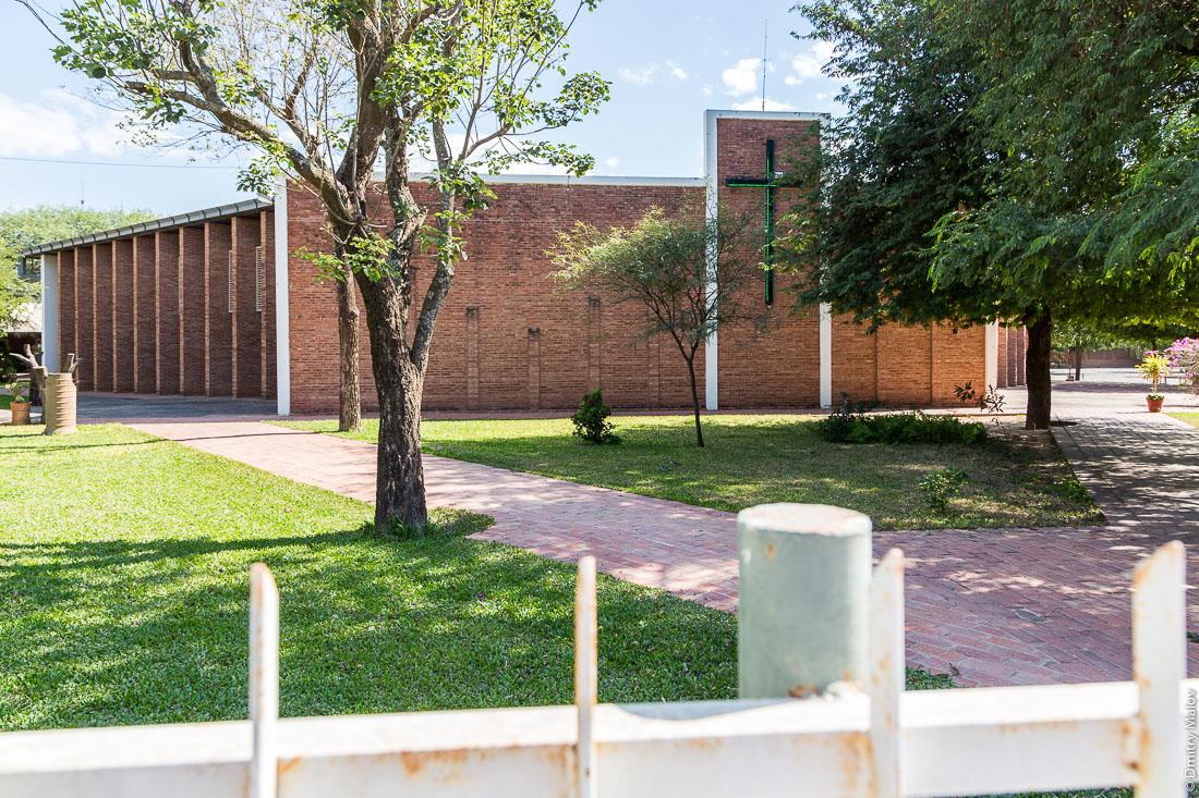 Меннонитская протестантская церковь в городе Филадельфия, Гран-Чако, Парагвай. Mennonite Protestant church in the city of Filadelfia, Gran Chaco, Paraguay.