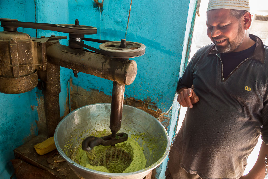 Old Industrial mixer for falafel. Making of falafel, el-Bawiti, Oasis of Bahariya, Western Desert, Sahara, Egypt. Изготовление фалаефля. Промышленный миксер для фалафеля. Эль-Бавити, Оазис Бахария, Западная пустыня, Сахара, Египет.