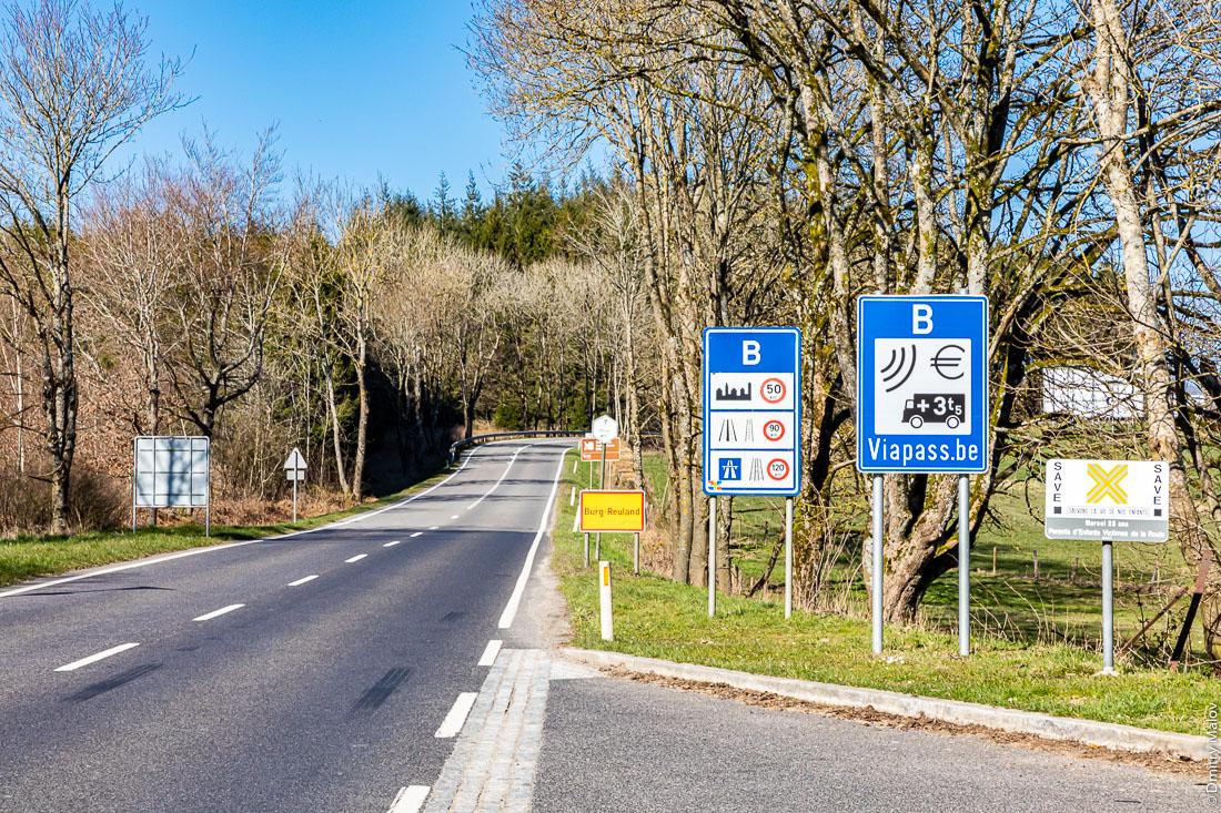 A road crosses Luxembourg-Belgium border at Wemperhardt. Дорога пересекает границу Люксембурга и Бельгии в Вемперхардте