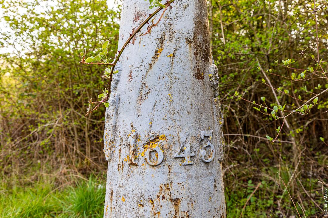 Luxembourgish border marker #1 at tripoint for Luxembourg-French-Belgic border, year 1843. Люксембургский пограничный столб №1 около тройной точки границ Люксембурга, Франции и Бельгии. 1843-й год