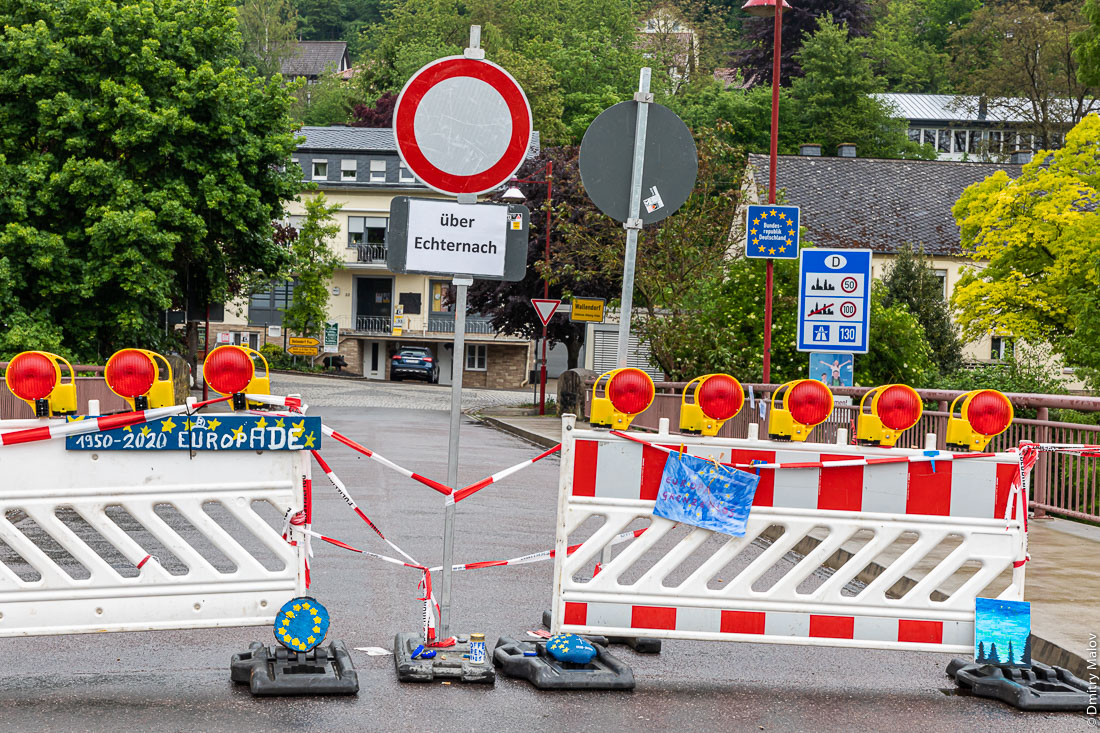 Local people protest border closures as European Union fights against coronavirus pandemics, Luxenbourg-Germany border in Wallendrof. über Echternach. Простесты местных жителей из-за загрытия границ с Германией из-за COVID-19, Люксембург