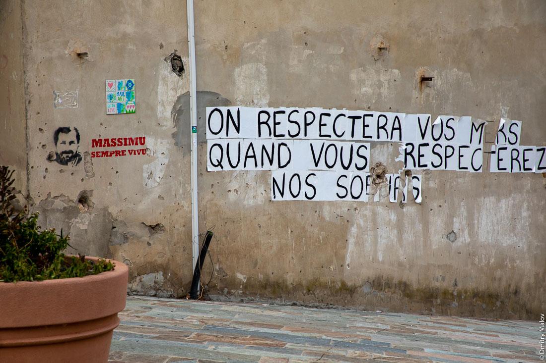 Massimu sempre vivu. On respectera vos mers quand vous respecterez nos soeurs. Graffiti, Bastia, Corsica