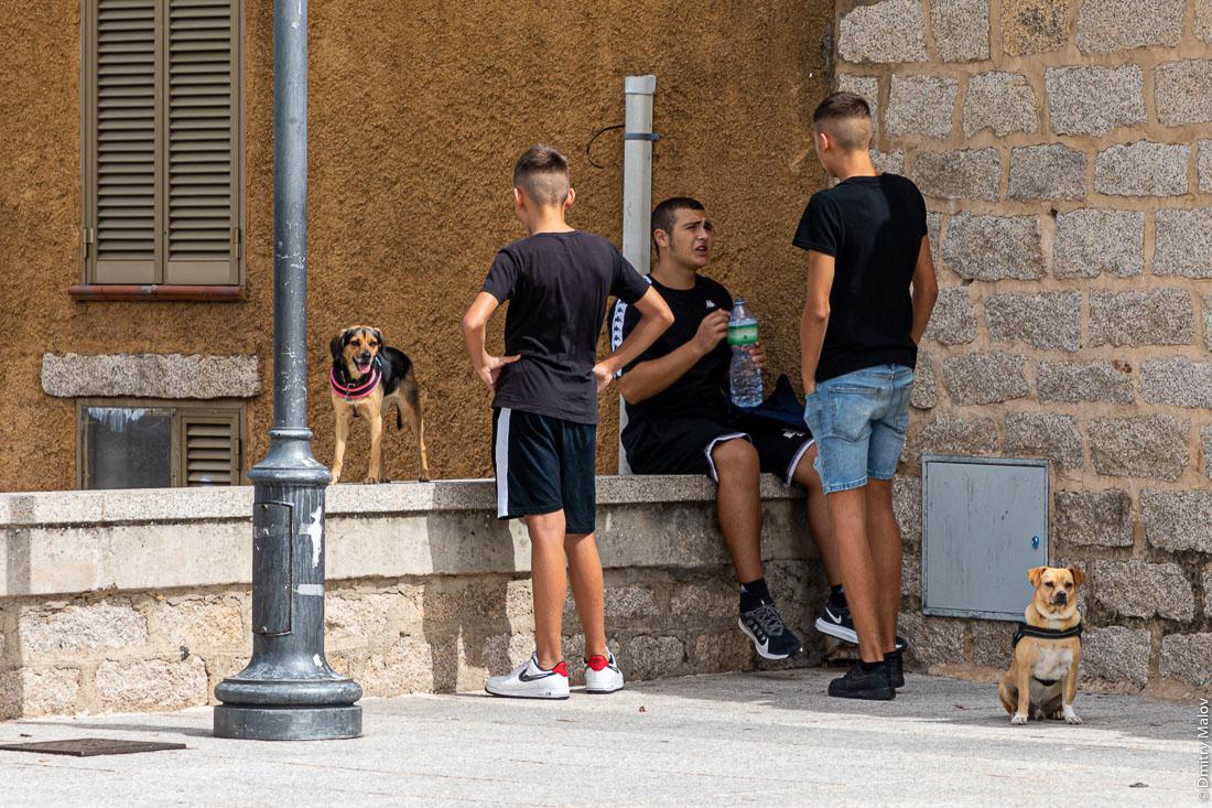 3 парня и 2 собаки, тусовка в Сан Панталео, Сардиния, Италия
