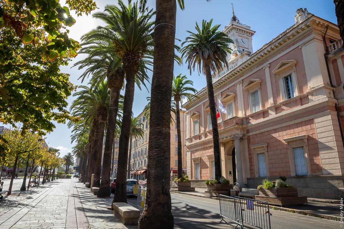 Ajaccio city hall. Place Foch, Ajaccio city center, Corsica. Вид улицы в центре Аяччо, мэрия Аяччо, Корсика