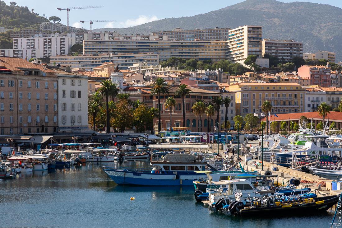 View of Ajaccio from port, Corsica. Вид на Аяччо из порта, Корсика