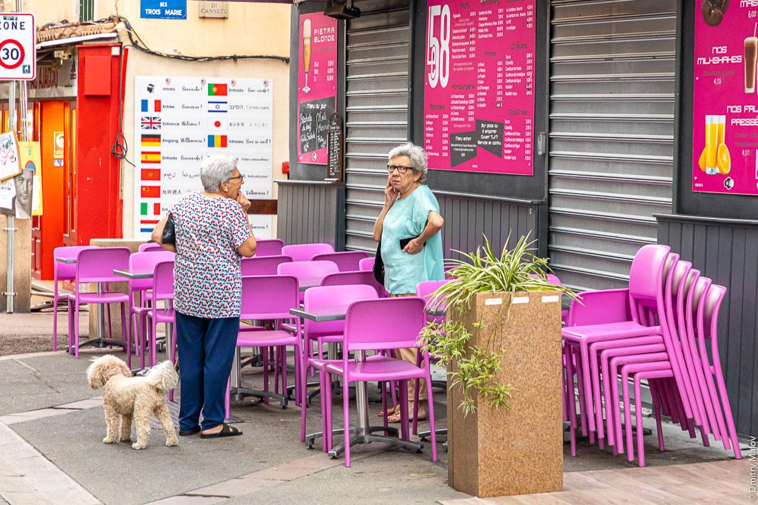 Две пожилые седые дамы (одна с пуделем) говорят по-корсикански на улице Аяччо, Корсика