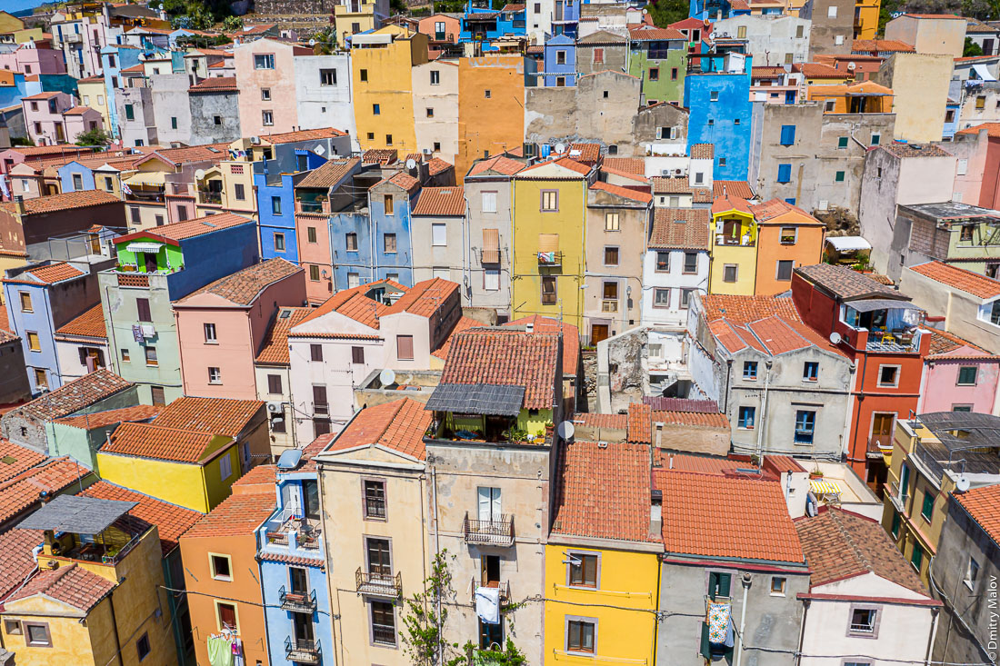 Aerual view of Bosa town with colorful, typical Italian houses. Island of Saridnia