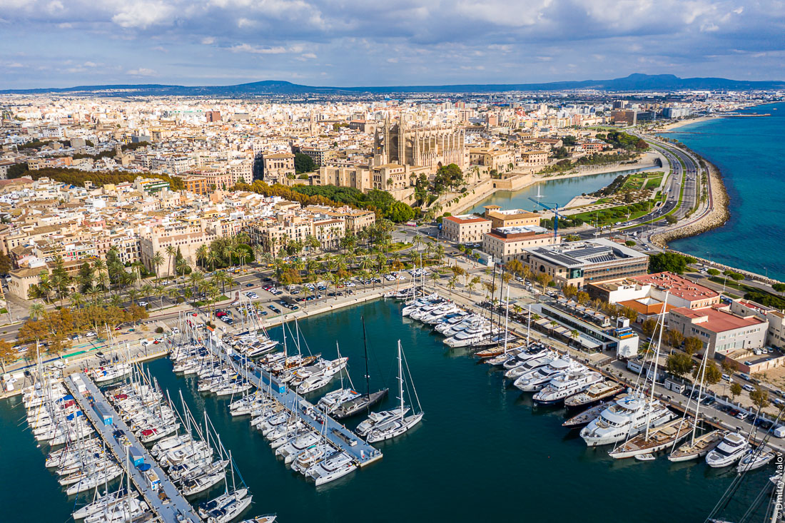 Aerial drone view of Palma de Mallorca center, Balearic Islands, Spain