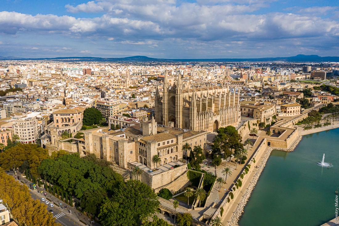 Royal Palace of La Almudaina. Catedral-Basílica de Santa María de Mallorca. Aerial, drone, birds eye view