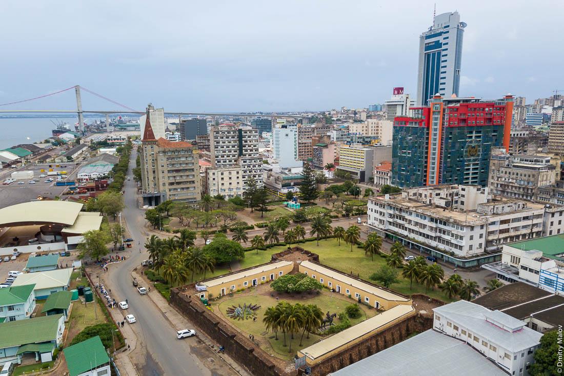 Aerial drone birds eye view of Maputo skyline with Maputo-Katembe Bridge, Mozambique. Bay of Maputo.