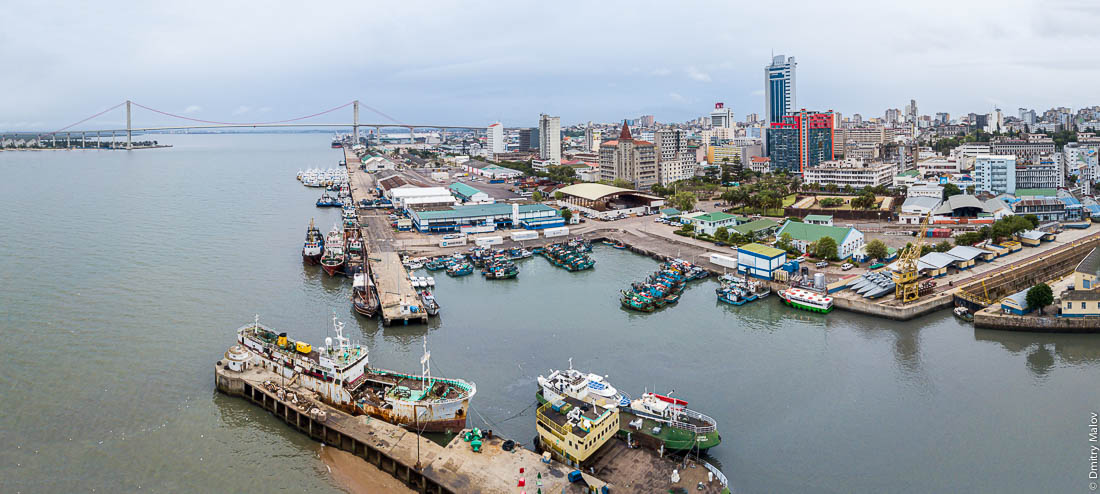 Aerial panorama of Maputo skyline with Maputo-Katembe Bridge, Mozambique. Bay of Maputo.