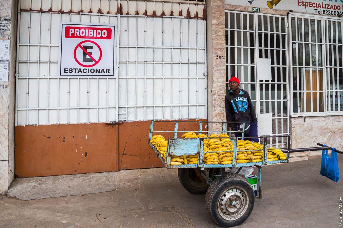 Африканец  продаёт бананы с телеги. Город Мапуто, Мозамбик, Африка