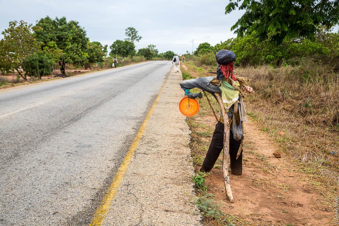 Чучело для привлечения внимания проезжающих машин. Дорога Нампула - остров Мозамбик, Мозамбик, Африка
