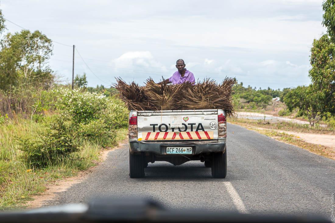 Чёрный мужчина, негр в кузове грузовика на сене. Шоссе Нампула - остров Мозамбик, Мозамбик, Африка