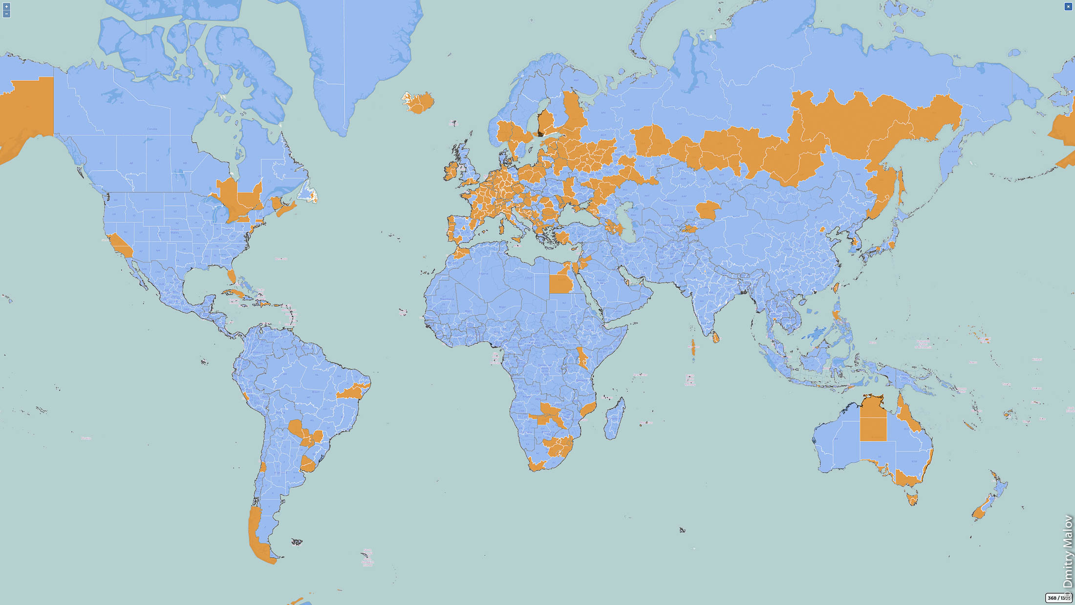 Dmitry Malov — visited countries and territories map. Карта стран и регионов мира, где был Дмитрий Малов.